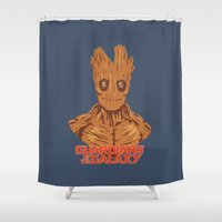 groot Shower Curtains featuring Groot  by bookotter