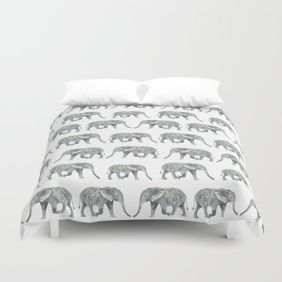 Elephant nature safari tropical painting watercolor nature pattern  Duvet Cover