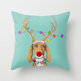 George the Holiday Hound Throw Pillow