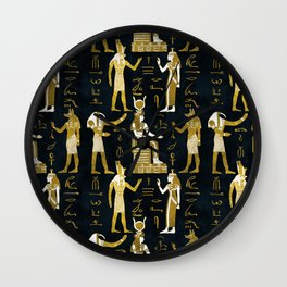 Egyptian Gods Gold and white on dark glass Wall Clock