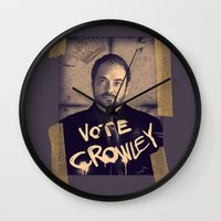 crowley Wall Clocks featuring Vote Crowley! by KanaHyde