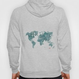 World Map Blue Vintage Hoody