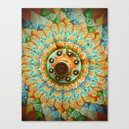 Rainbow Painted Cart Wheel Mandala Canvas Print