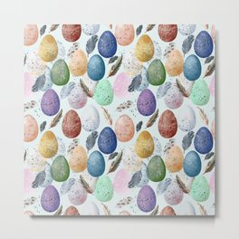 Pattern with eggs and feathers. Metal Print