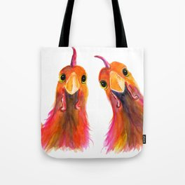 Happy Hens Chickens ' HARRIET & HUMBUG 2 ' by Shirley MacArthur Tote Bag