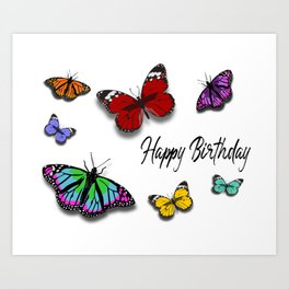 Butterfly Birthday Card Art Print