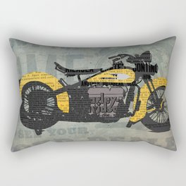 Classic motorcycle yellow and black, newspaper abstract art collage, valentine gift Rectangular Pillow