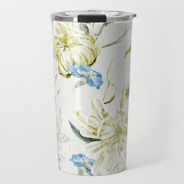 Antique White Flower Pattern with Blue Accents Travel Mug