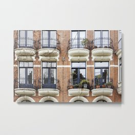 Dutch balconies in the streets of Amsterdam, The Netherlands Metal Print