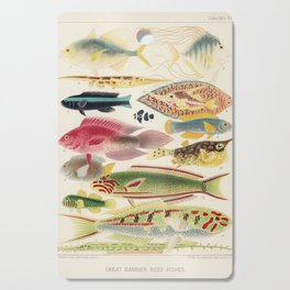Great Barrier Reef Fish Illustration by William Saville-Kent, 1893 Cutting Board