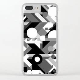 GEOMETRY SHAPES PATTERN PRINT (BLACK AND WHITE COLOR SCHEME) Clear iPhone Case