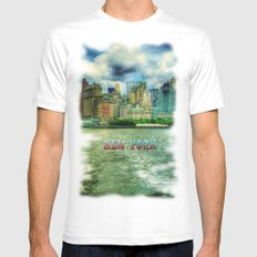 New York MEDIUM White Mens Fitted Tee