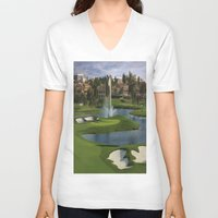 golf V-neck T-shirts featuring GOLF COURSE by aztosaha