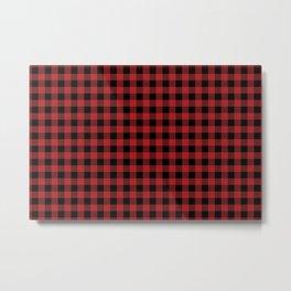 xmas red and black check tartan Metal Print
