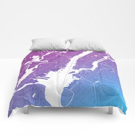 New York Map Print. Neon Pink and Blue Comforters