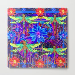 Colorful Dragonfly Tropical Flowers Red-Blue Patterns Metal Print
