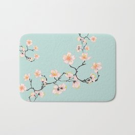 Sakura Cherry Blossoms x Mint Green Bath Mat