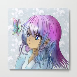 Beautiful druid elf girl with a butterfly Metal Print