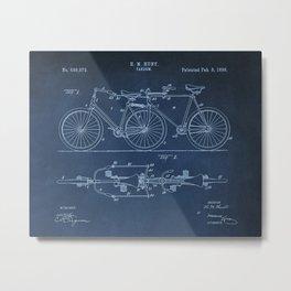 1898 E.M. Hunt Tandem Patent Art Print - Vintage Bicycle Patent  - Bike Patent Metal Print