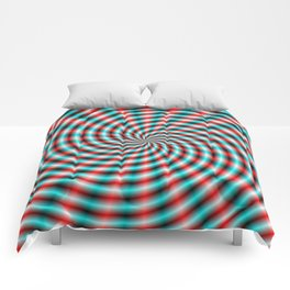 Turquoise and Red Spiral Rays Comforters
