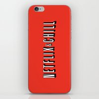netflix iPhone & iPod Skins featuring Netflix and chill by BomDesignz