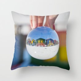 Changing Rooms at the Beach Throw Pillow