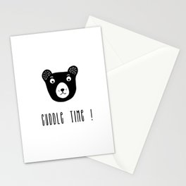 Cuddle time bear black and white illustration Stationery Cards