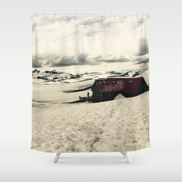 Mountain hut in Iceland Shower Curtain