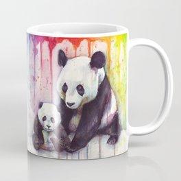 Rainbow Pandas Watercolor Mom and Baby Panda Nursery Art Coffee Mug