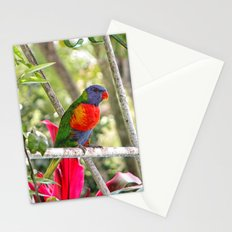 Rainbow Lorikeet sat on a metal structure Stationery Cards