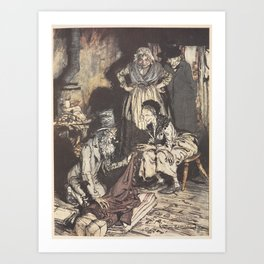 "Arthur Rackham - Dickens' Christmas Carol (1915): ""What do you call this, bed-curtains?"" Art Print"