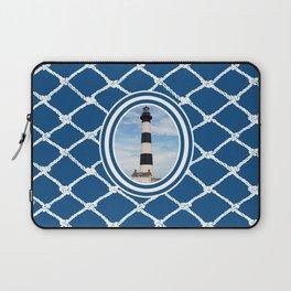 Bodie Island Lighthouse-North Carolina -With Nautical Netting Background on Classic Blue Laptop Sleeve