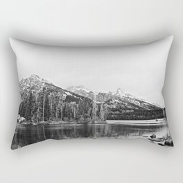 Grand Tetons in Black and White Rectangular Pillow
