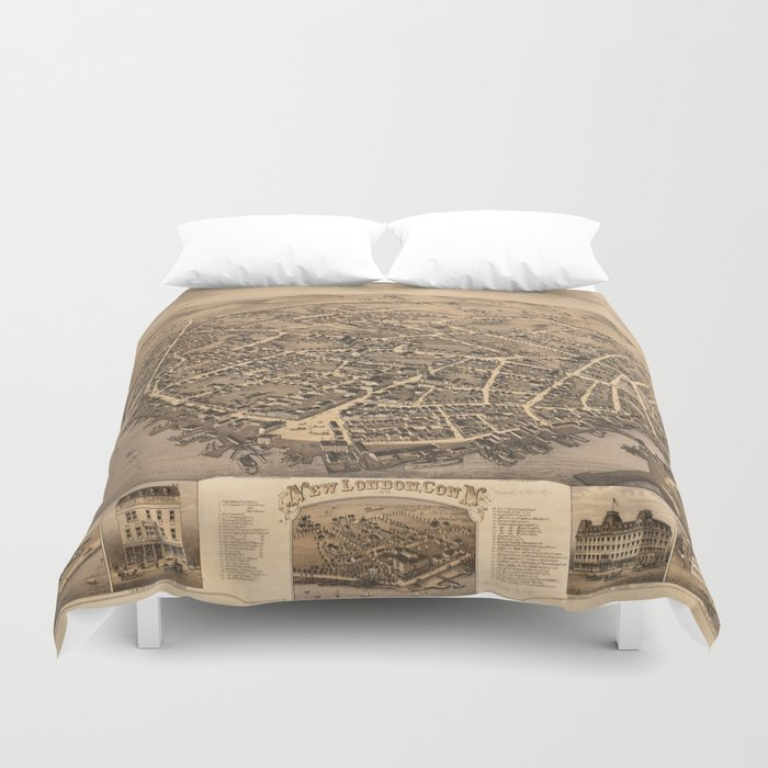 Vintage Pictorial Map of New London CT (1876) Duvet Cover