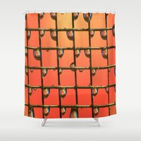 orange pattern Shower Curtains featuring ORANGE by ThePhotoGuyDarren