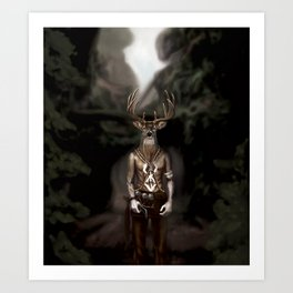 Skinwalker Navajo inspired shapeshifter with deer head Art Print