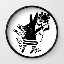 bunny with carrots and flower black linoprint illustration Wall Clock