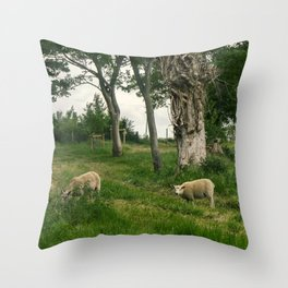 Two sheep in a forest Throw Pillow