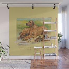Rhodesian Ridgeback dogs painting & Quote of Karen Blixen Wall Mural