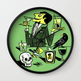Drinks With The Mad Scientist Next Door Wall Clock
