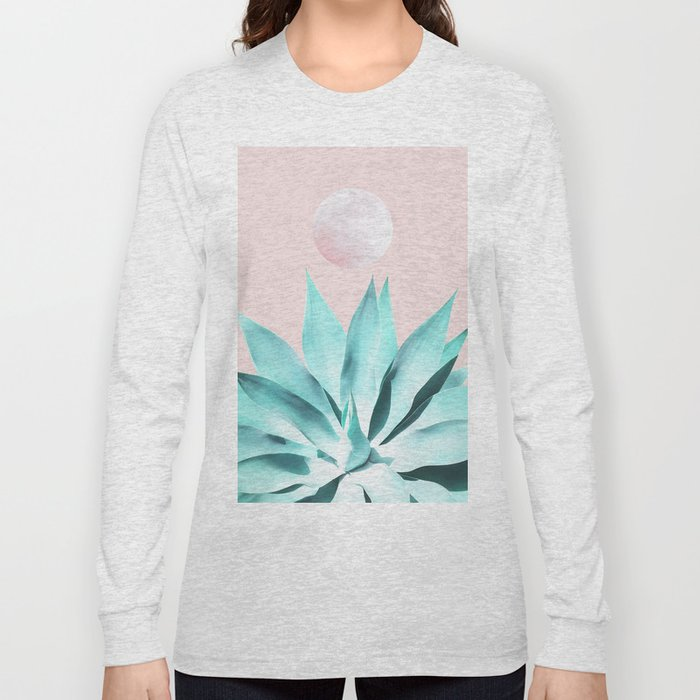 Stellar Agave and Full Moon - pastel aqua and pink Long Sleeve T-shirt