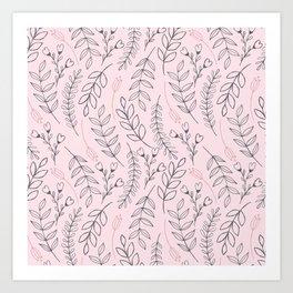 Pink Leaves & Flowers Art Print