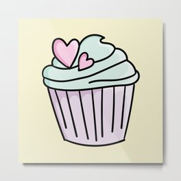 Cupcakes with green cream and heart Metal Print