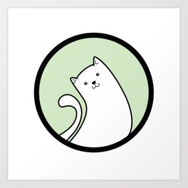 Little White Derpy Kitty Art Print