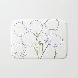 linear purple flowers (off-white) Bath Mat