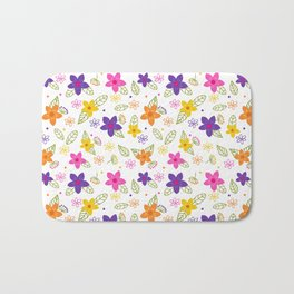 Colorful Hand Drawn Spring Flowers Pattern Bath Mat
