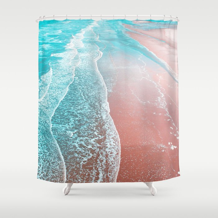 Sea Blue Rose Gold Shower Curtain By 83oranges