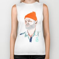 zissou Biker Tanks featuring Doc Zissou by The Art Warriors