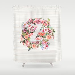 Initial Letter Z Watercolor Flower Shower Curtain