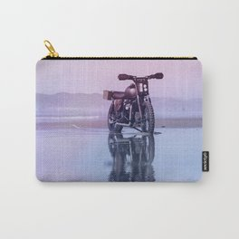 Where the Journey  begins Motorcycle at the Water Sunset Carry-All Pouch